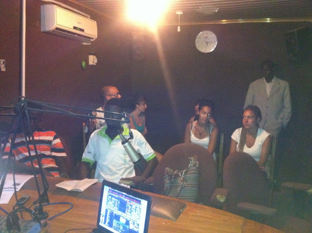 Visiting the Builsa District radio station and watching Prosper (from HCC) and his group Voice of the Youth speak on air about teen drugs use