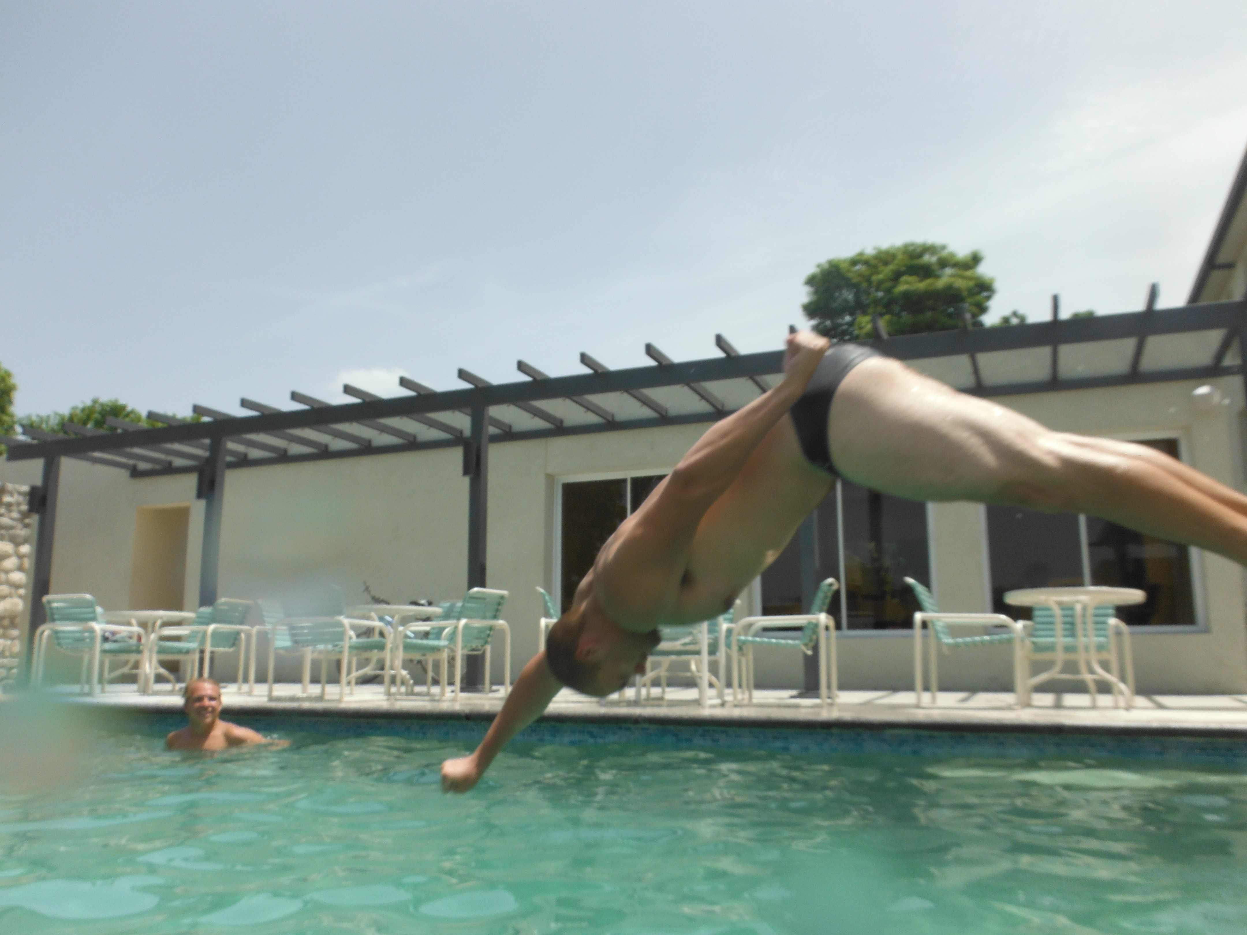 James diving like a dolphin