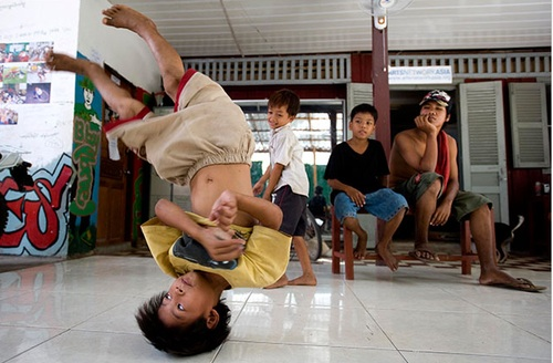 Cambodian youth breakdancing at Tiny Toones