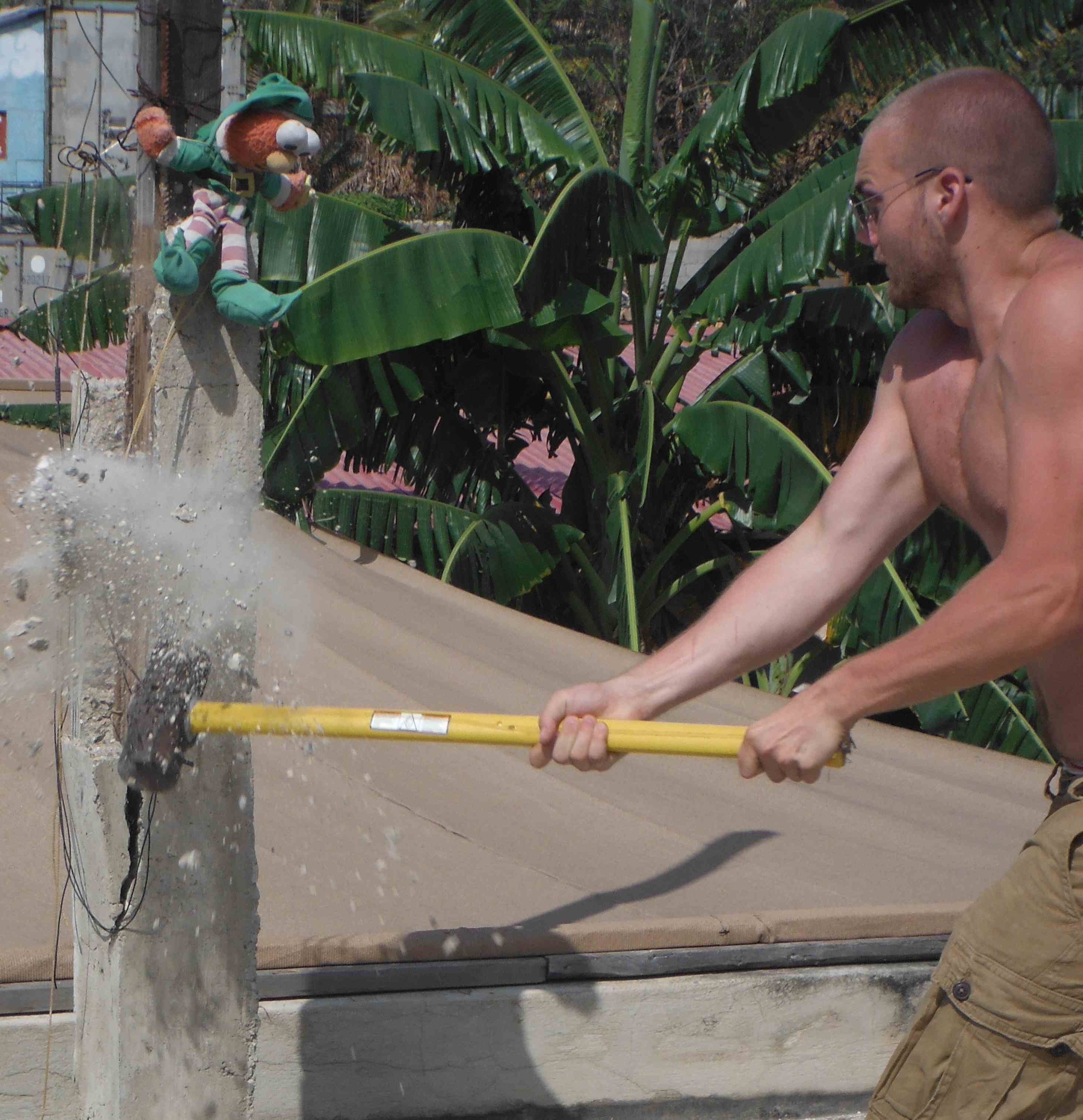 James smashes concrete like the hulk to build homes in Haiti