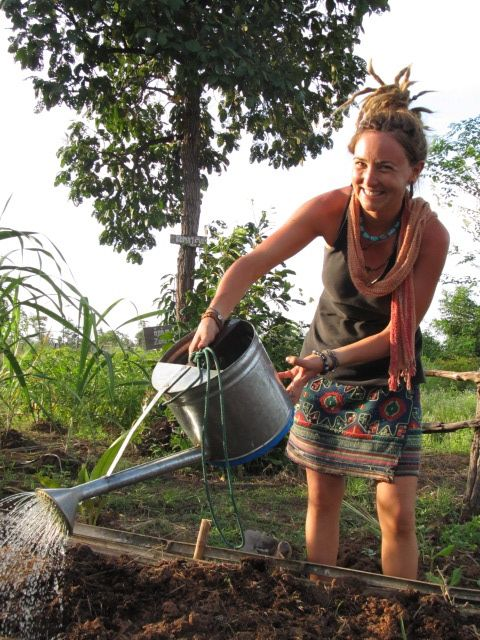Watering plants at permaculture farm