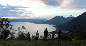 View of the volcanos at Lago Atitlan