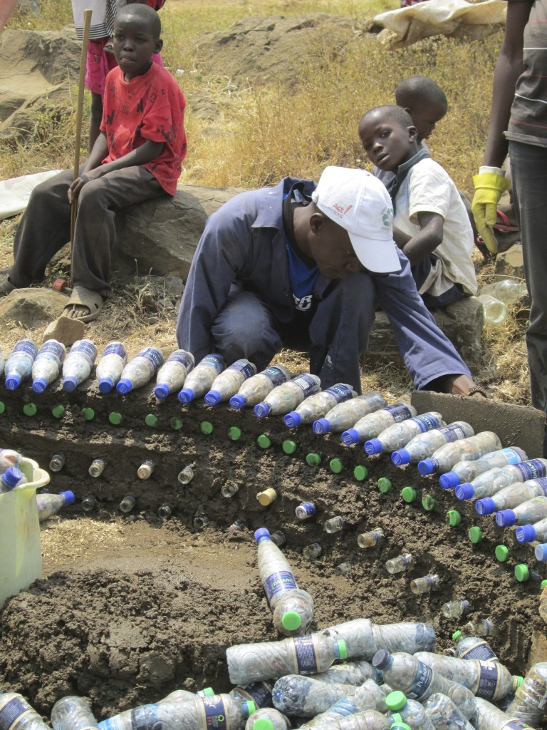Bottle bricks project with Ecofinders in Kenya