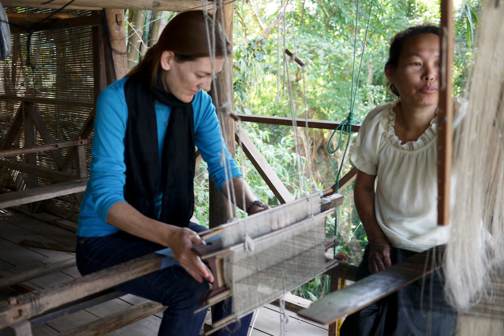 Shannon O'Donnell weaving in Laos