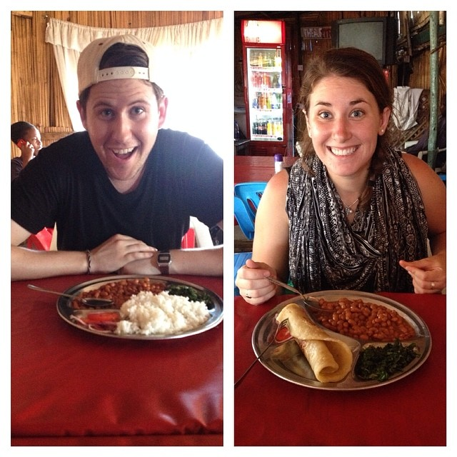 Program Leaders Meg and Mike chowing down on some beans and chapatti.