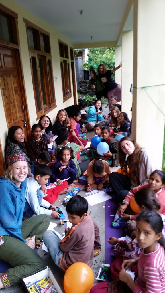 Art activities with the Om Shanti children.