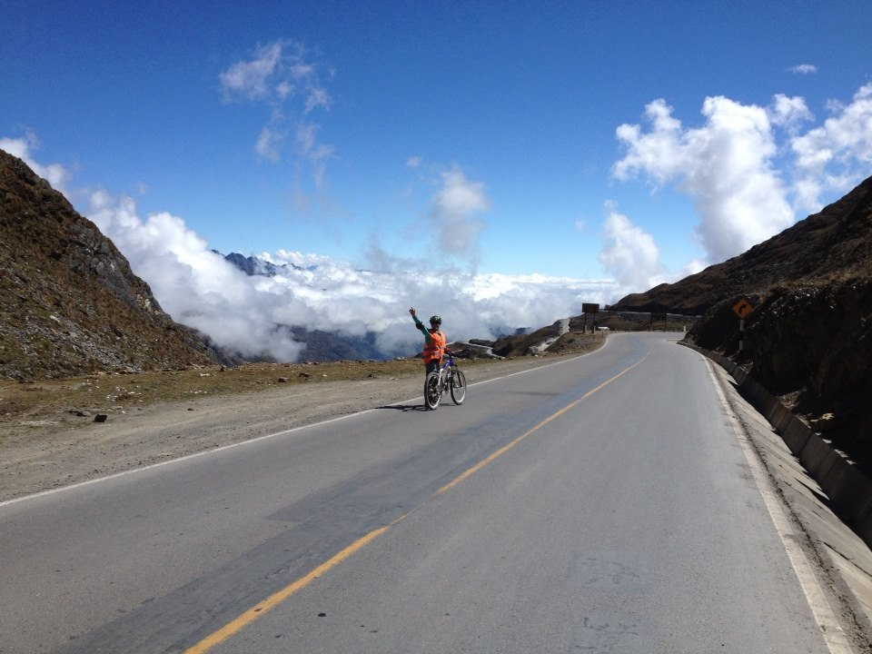 Biking above the clouds on our first day of our Incan Jungle Trek to Machu Picchu