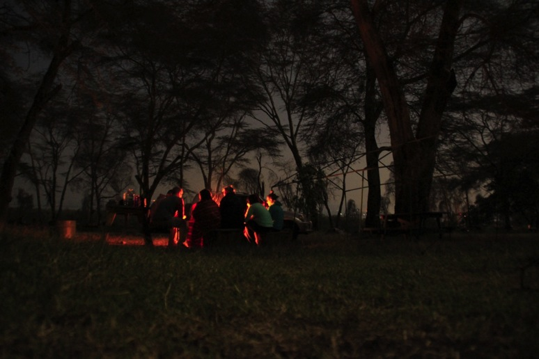 Campfire by the shores of Lake Naivasha. Photo by Adam Darell.