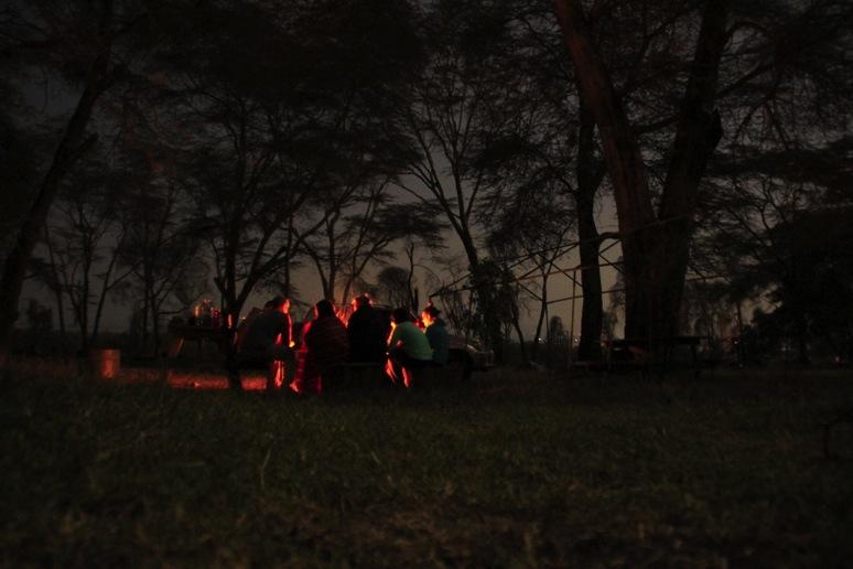 Campfire by the shores of Lake Naivasha. Photo by Adam Darell.