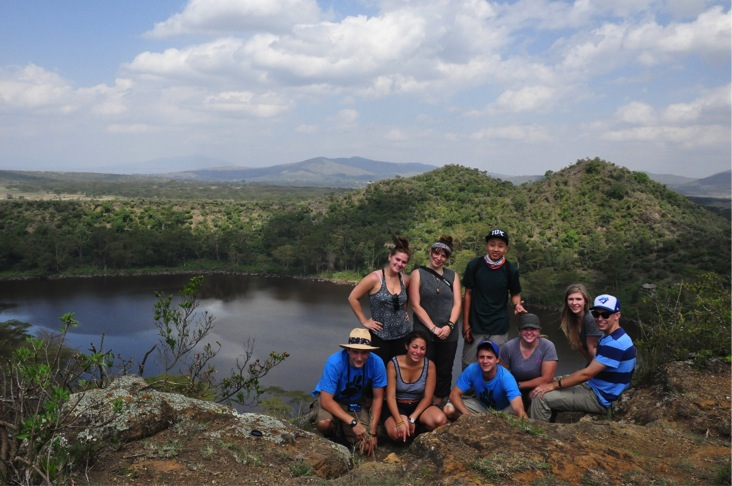 The team standing tall over Crater Lake in the Rift Valley.
