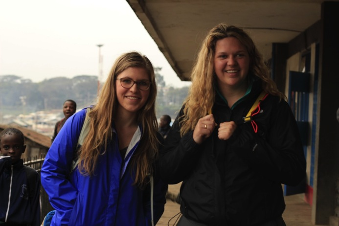 Hanna and Megan at the Mwelu Foundation HQ in Mathare.