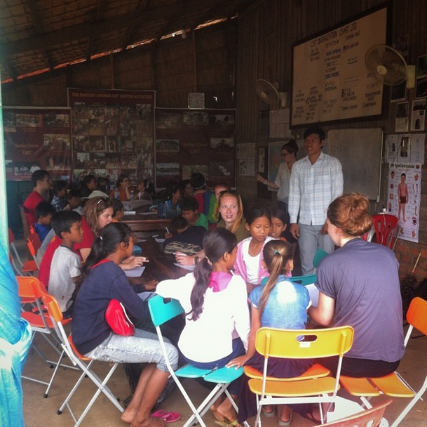Language exchange with the kids in Banteay Chhmar
