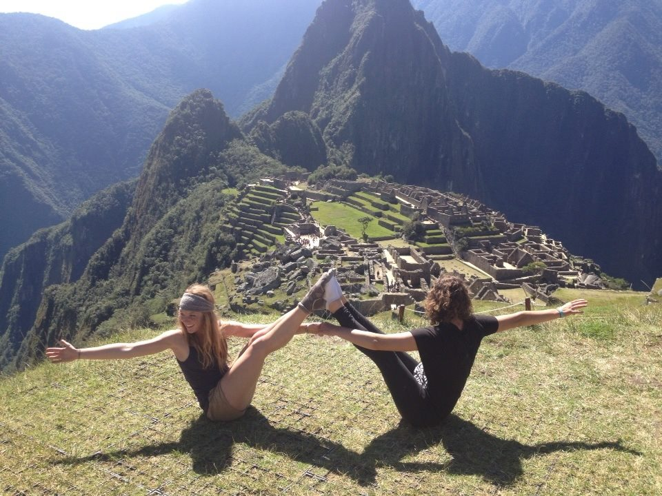 Meg and Christina getting their zen on at Machu Picchu