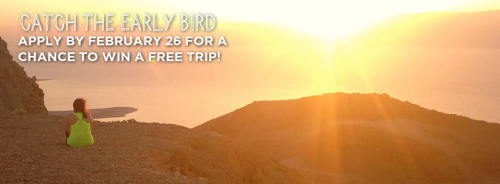 Apply by February 26 for a chance to win a free trip!