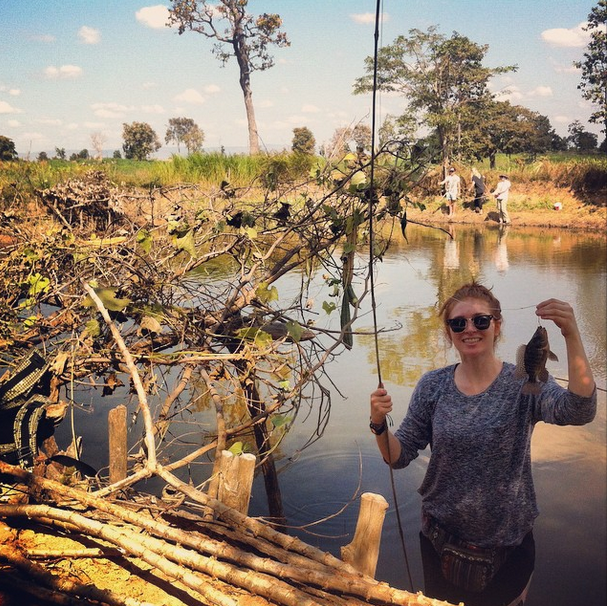 Catching fish in Banteay Chhmar