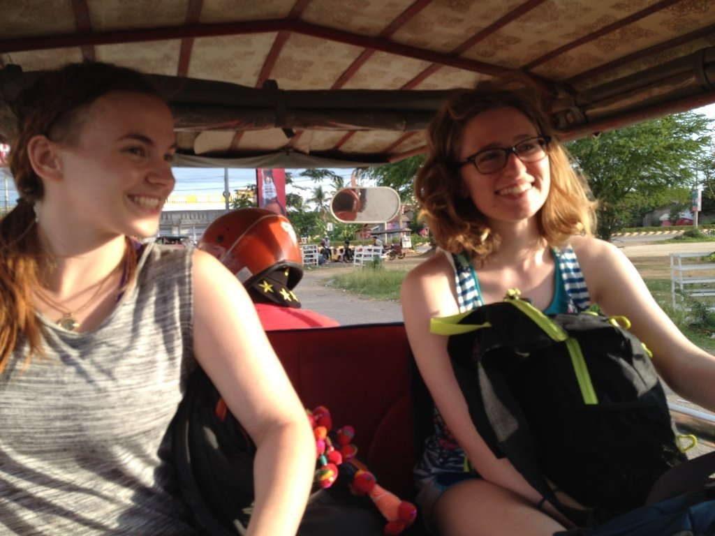 Hopping on one of our first tuk tuk rides cruising around the chaos and complexity of Bangkok!