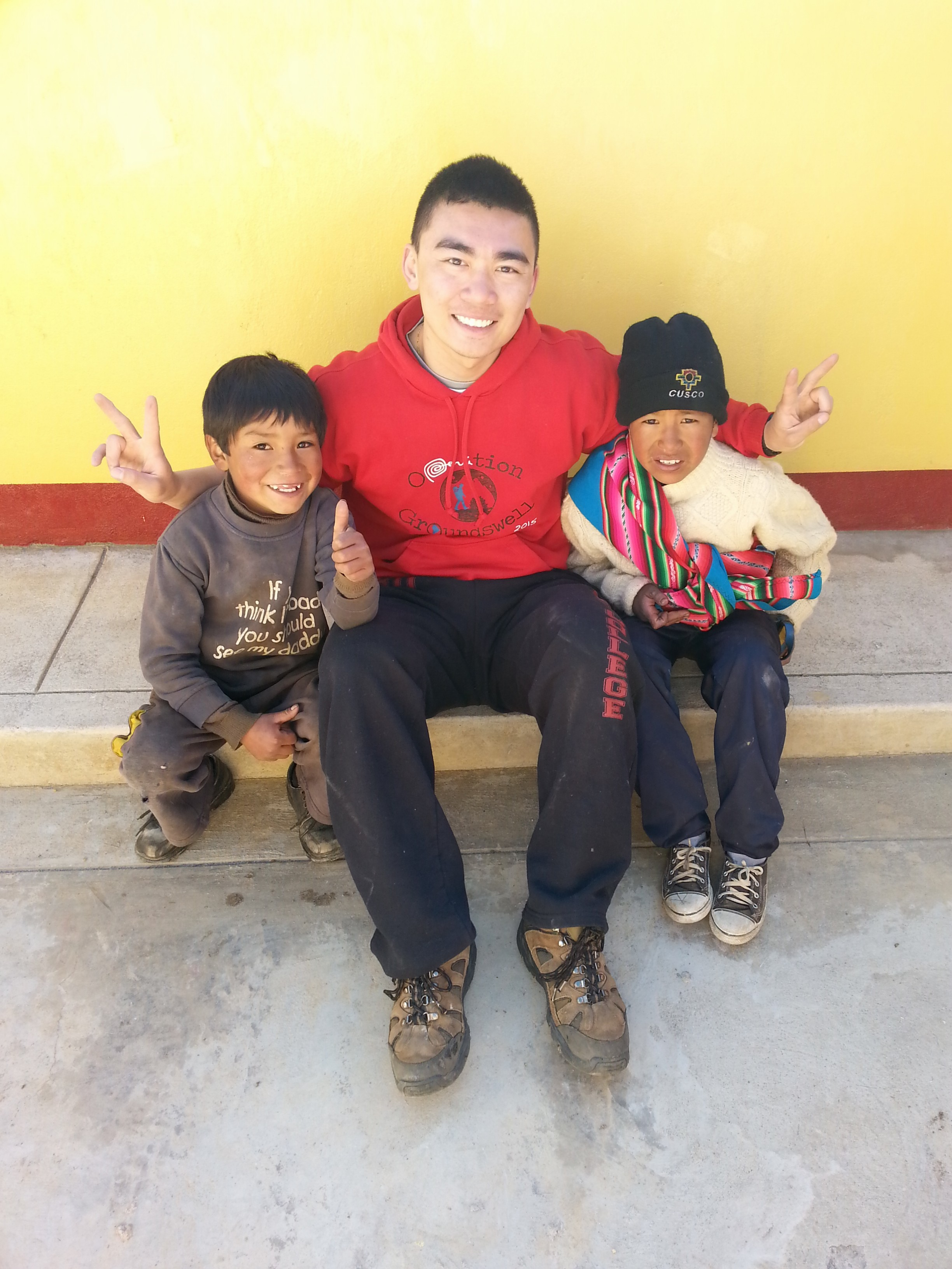 Timothy Cheung with local Peruvians