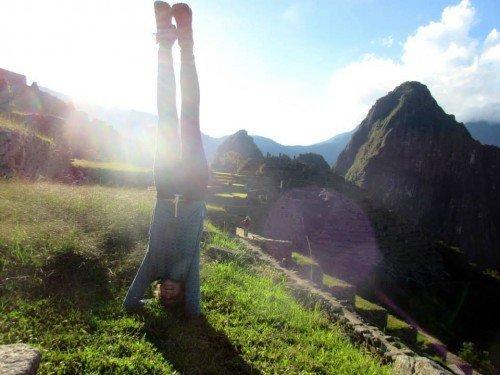 A headstand at Machu Picchu