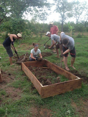 The Cities and Sanctuaries team at work at Ockenden's permaculture farm.