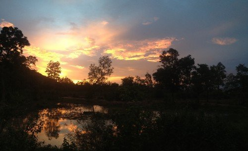 Sunset at Ockenden's permaculture farm in Cambodia
